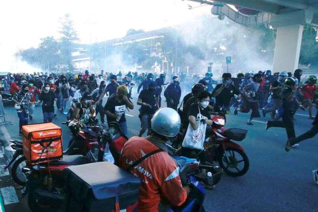 Anti-regeringsprotester i Bangkoks Din Daeng bydel, d. 4. september 2021