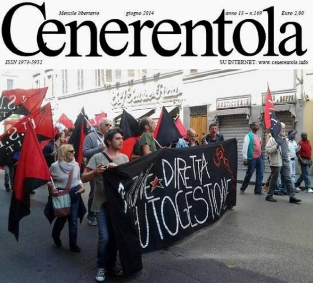 Demoblok af anarkosyndikalisternes fagforening 'Unione Sindacale Italiana' (USI) - 2014