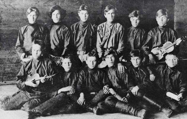 En gruppe Narodniki'er omkring 1874