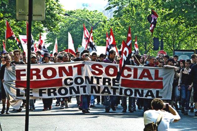 Anarkosyndikalistisk blok i antiracistisk demo mod Front National