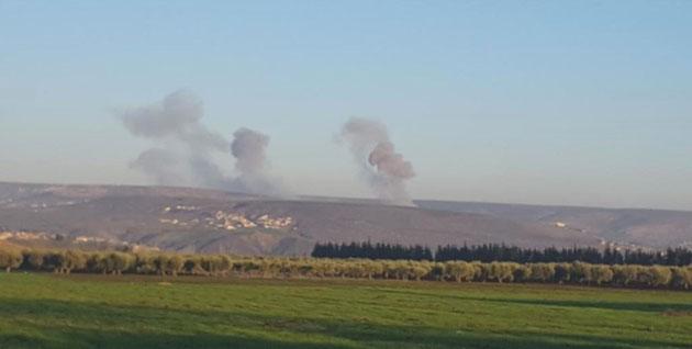 Tyrkiske kampfly bombarderer det kurdiske distrikt Cindirêsê i kantonen Afrîn