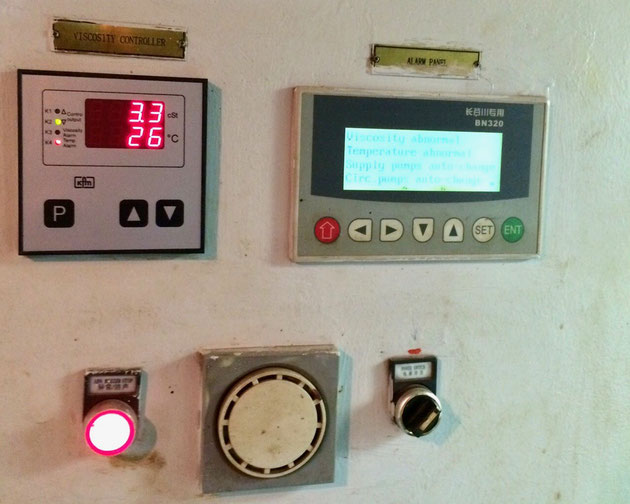 fron panel, switch panel, KFM controller, alarm panel, viscosity controller
