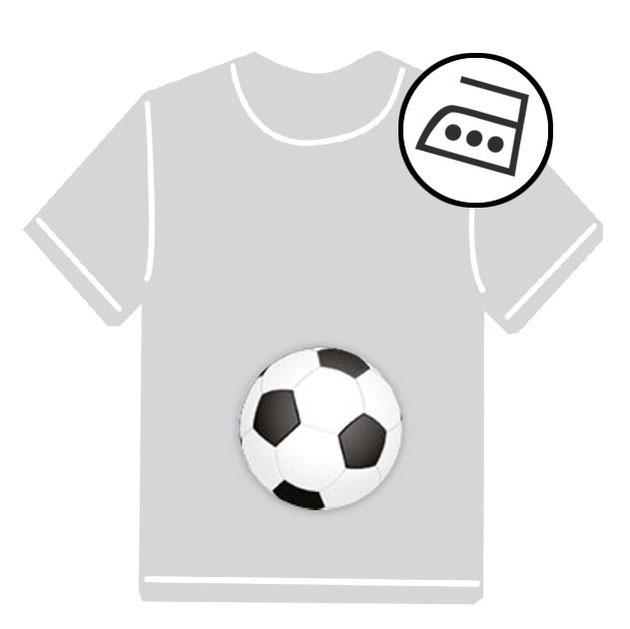 dauerhafte runde Bügeletiketten - auch personalisierbar mit Namen oder Initialen - für Kindergarten u. Schule - PVC frei -  Motiv: Fußball