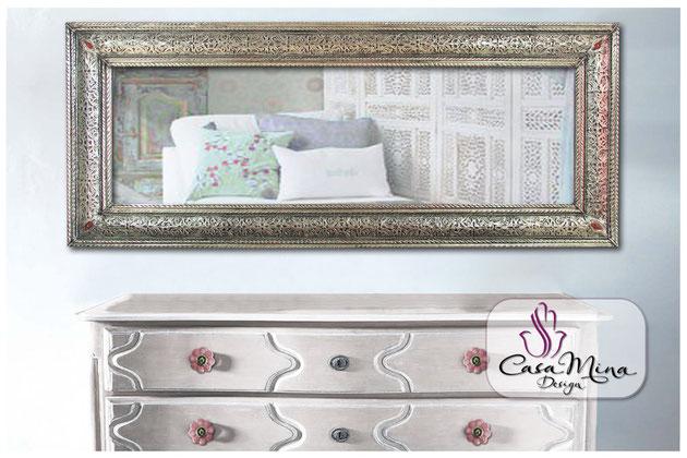 Wandspiegel orientalischer Spiegel Jaipur silber Casa Mina Design