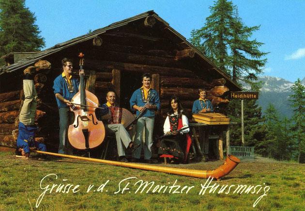 Huusmusig Kollegger 1980, v.l. Thomas (im Kopfstand), Beat, Papa Heiri, Martin, Irene und Andy.