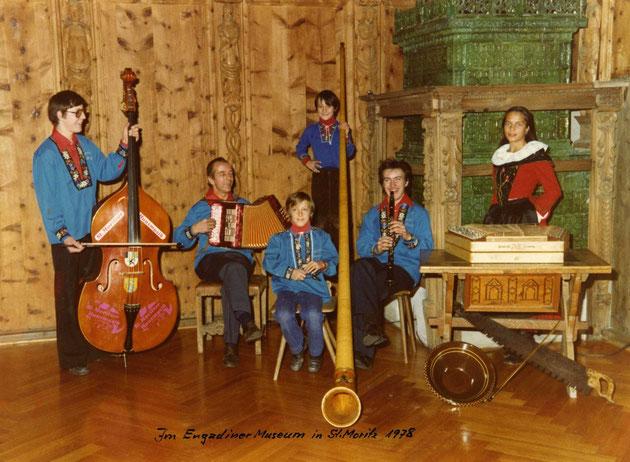 Huusmusig Kollegger 1978, v.l. Beat, Papa Heiri, Andy, Thomas, Martin und Irene.