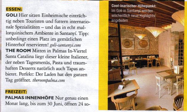 Gastrotipp aus der aktuellen Ausgabe der GRAZIA, dem Trendmagazin für Lifestyle, Mode, Essen, Stars und Stories (09.06.2012)