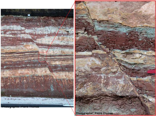 Faille (+ zoom) dans un affleurement de roche au bord de la route. Sources: Pierre Thomas, ENS Lyon.