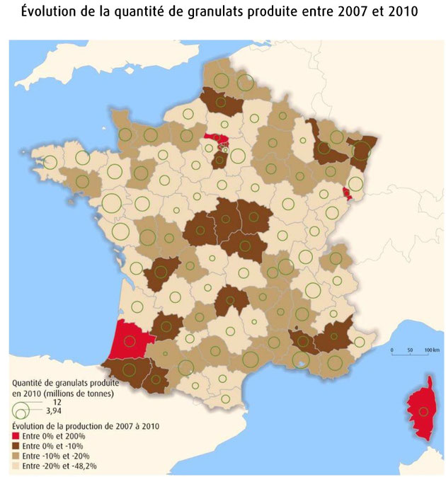 Extraction des granulats en France. Source: http://www.statistiques.developpement-durable.gouv.fr/fileadmin/documents/Produits_editoriaux/Indicateurs_et_Indices/Developpement_durable/Indicateurs_de_developpement_durable_nationaux/granulatscarte1.pdf