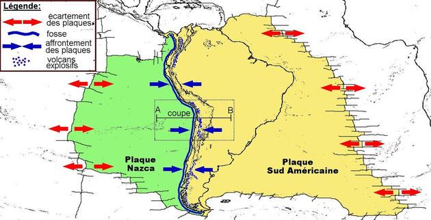Détails des plaques Am. du Sud et Nazca. On observe, en bleu, les mouvements de convergence entre ces 2 plaques. Sources: http://www.pedagogie.ac-nantes.fr/1232098463310/0/fiche___ressourcepedagogique/