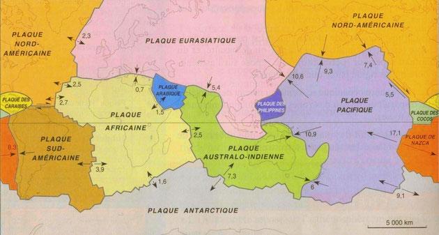 Carte des plaques lithosphériques.