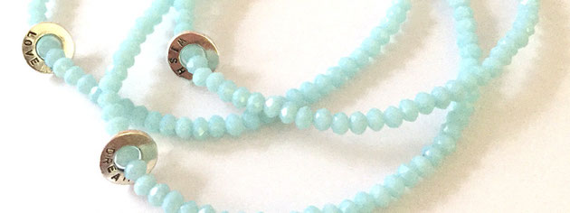 Emma Hedley Jewellery Personalised Tiny Hoop Pale Blue beaded bracelet