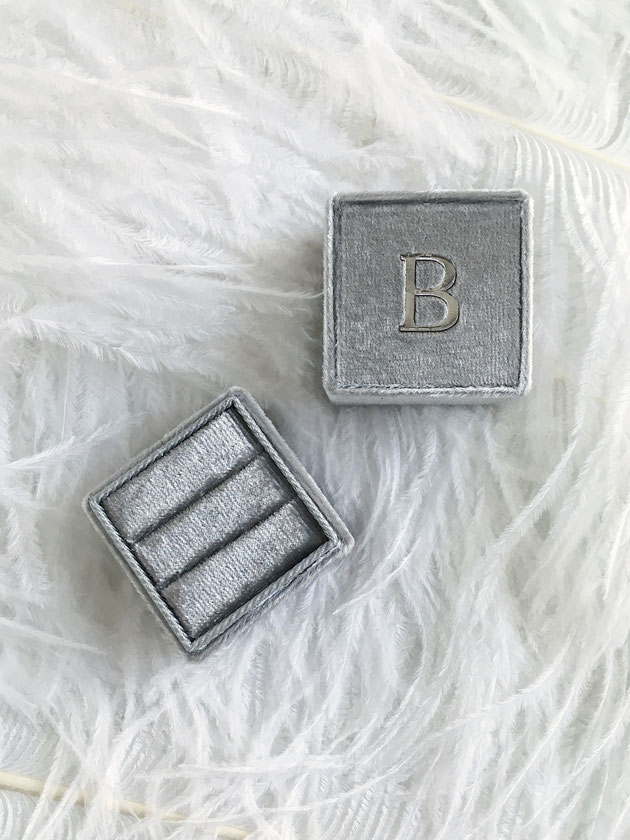 Our personalised monogrammed velvet ring boxes come with each engagement or wedding ring.