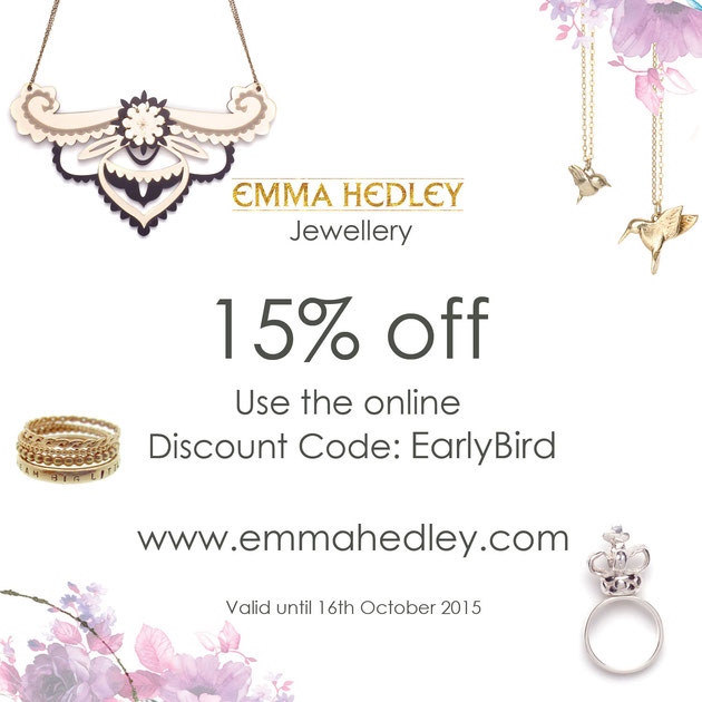 Emma Hedley Jewellery 15% off Discount Code