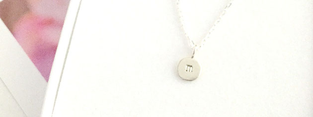 letter M little silver handmade round initial pendant Emma Hedley Jewellery