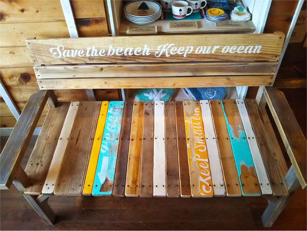 海を感じるサーフインテリア  廃材ベンチ