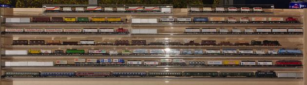 PeSchi hatte seine Züge aus ausschließlich vom FdSZH aufgelegten Güterwagen in Train-Safes im noch von unserem verstorbenen Freund Bruno angefertigten Präsentationsgestell zur Verfügung gestellt.