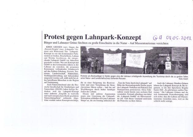 Erster öffentlicher Protest Gießener Anzeiger 8.5.2012