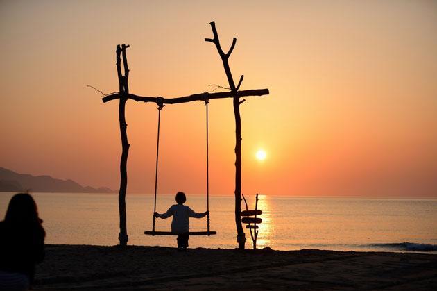 楽夕会が毎年設置する流木ブランコ「ゆらり」。有名な「インスタ映え」スポットになっている