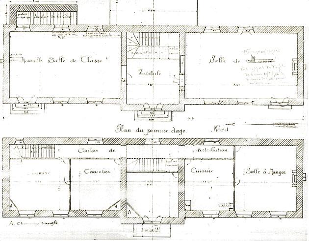 Plan du projet avorté de l'école de Prémillieu (1913)