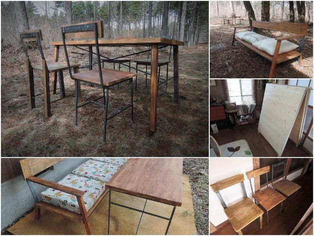 鉄脚と古材の家具
