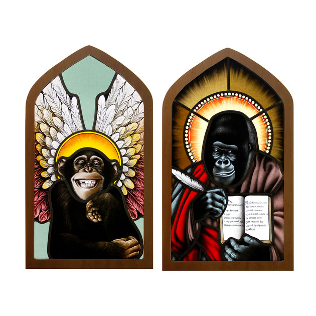 glas in lood heilige aapjes. / stained glass holy monkeys