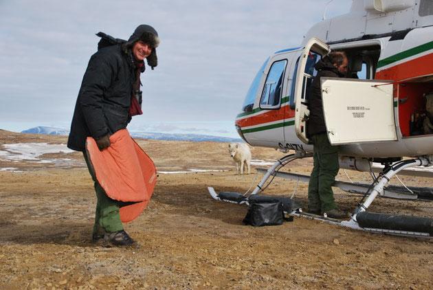 Kameramann und Tierfilmer Südlich vom Nordpol vor Hubschrauber mit Wolf im Hintergrund