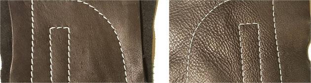 左:表面 4番糸使用                     右:裏面 8番糸使用