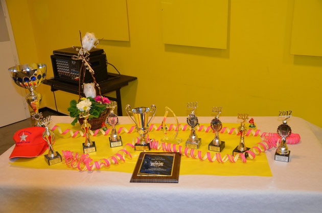 The trophies & plaques at the Awards Evening (19.1.2013)