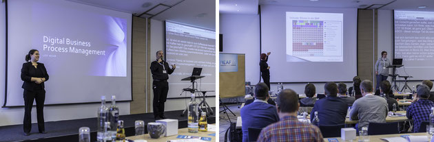 DeafIT: Left: Leif Möhr with Business Process Management (BPM) - Right: Bettina Schmolla with Unicode