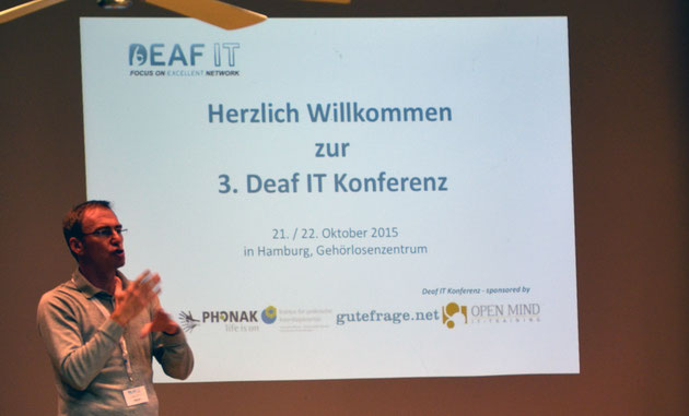 DeafIT Conference Hamburg 2016: Welcome with DeafIT founder Tobias Burz