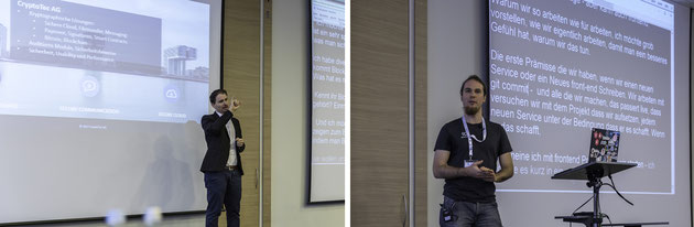 """DeafIT Links: Matthias Stommel mit Blockchain - Rechts: Nepomuk Seiler mit """"master branch"""" und """"continuous deployment"""""""