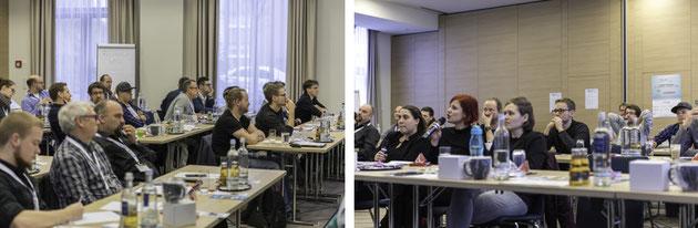 Die aufmerksamen DeafIT-Teilnehmer und Gebärdensprachdolmetscher