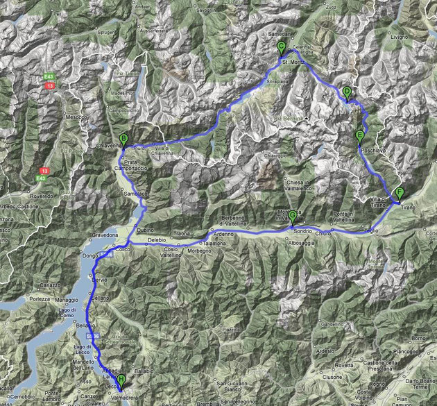 Lecco-Chiavenna-St Moriz-Passo Bernina-Poschiavo-Tirano-Lecco