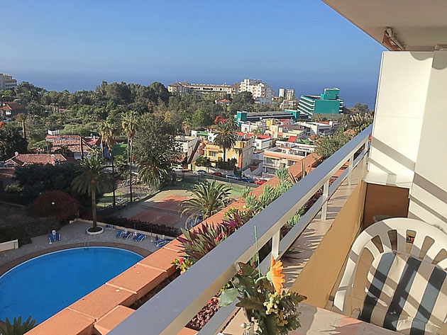 Ausblick von dem Studio auf Puerto de la Cruz, das sie für 2 Personen mieten können.