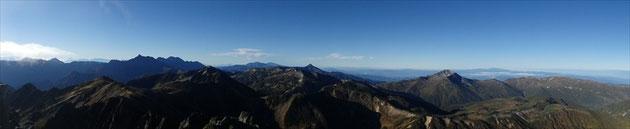 水晶岳山頂からの展望・南側
