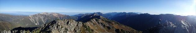 水晶岳山頂からの展望・北側