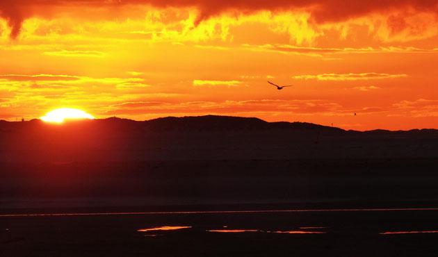 Sonnenuntergang im Spätherbst auf Langeoog