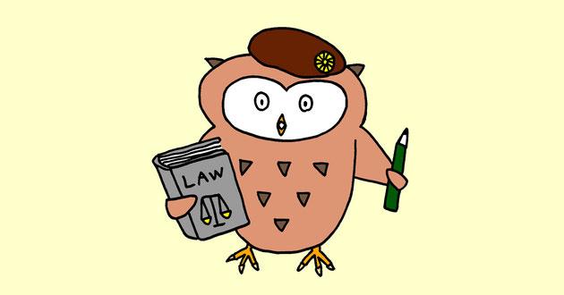 ベレー帽に弁護士バッジをつけ、右手に六法全書のような分厚い法律書籍を持ち、左手に鉛筆を持っている、著作権にくわしい、ふくろうのゆるキャラです。