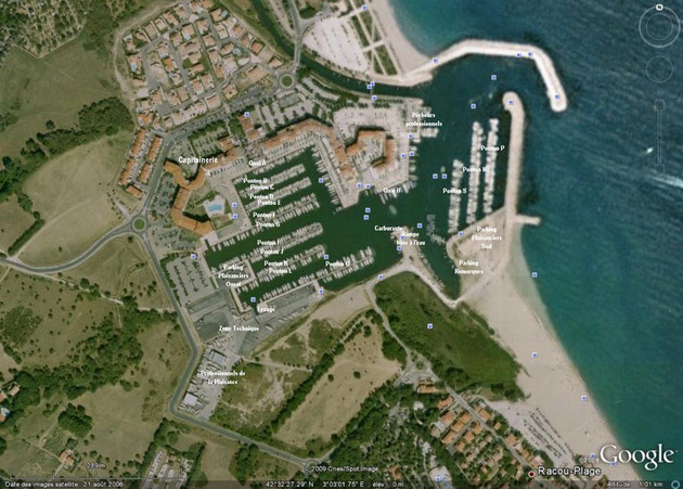 Image légendée de photo satellite par GoogleEarth à une altitude apparente de 1010 m