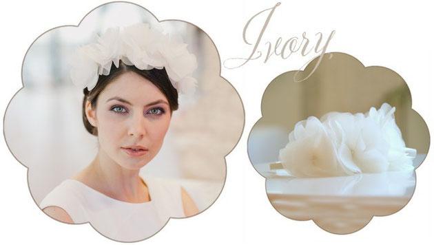 Haarreifen und Haarkränze Blütenpracht mit Organza Blüten in Ivory für Hochzeiten und zu Tracht.