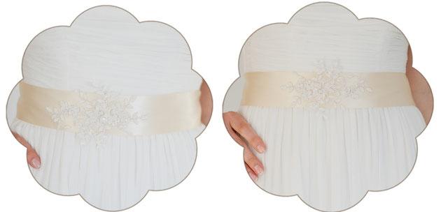 Vintage Brautgürtel mit einer Applikation aus feinster Spitze in ivory und creme.