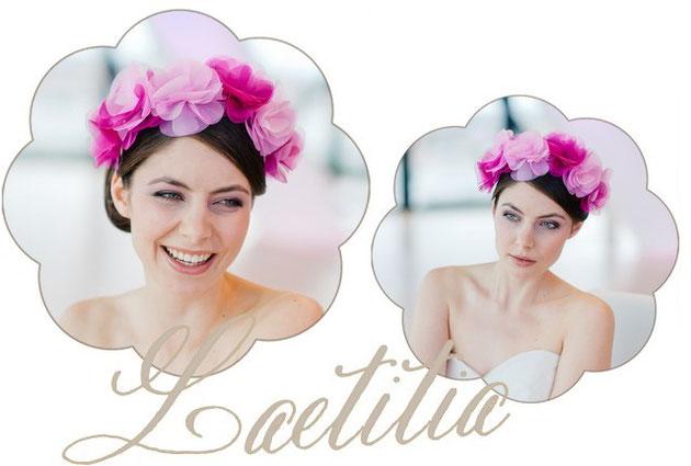 Haarreifen und Haarkränze in pink und rosa für die Braut.