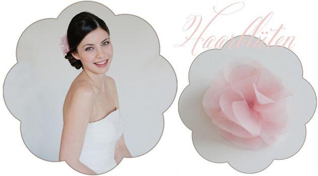 Seidene Haarblüte in rosa für Hochzeiten. Standesamt Haarschmuck und Sommerfeste in Rosa.