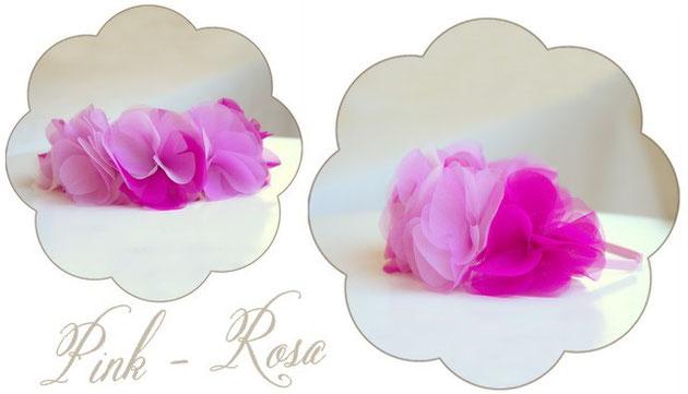 Haarkranz Blütenpracht mit Organza Blüten in rosa und pink.