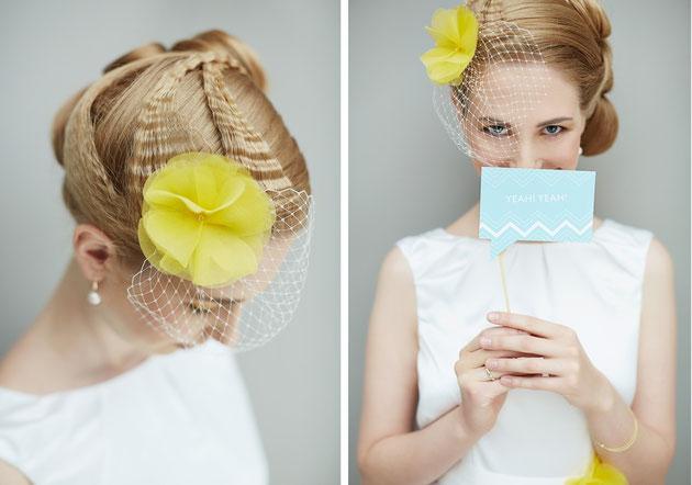 Fascinator Angel in Gelb für die Braut.