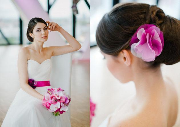 Brautgürtel und Haarblüte in Rosa, Pink, Violett Mix für die moderne Braut