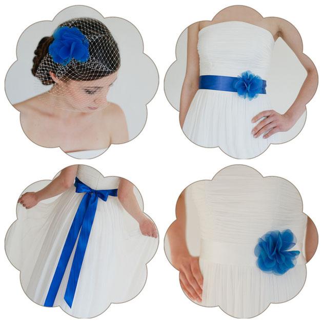 Haarschmuck und Brautgürtel in Blau - Royal Blau!