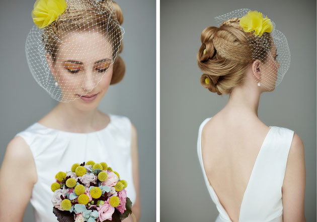 Fascinator Alice in Gelb Ivory für die Braut.