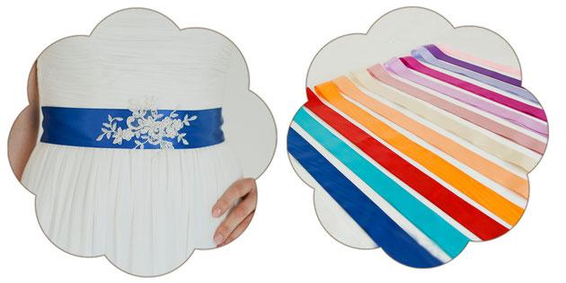 Brautgürtel mit einer Applikation aus feinster Spitze. Brautgürtel: 13 Farben zur Auswahl